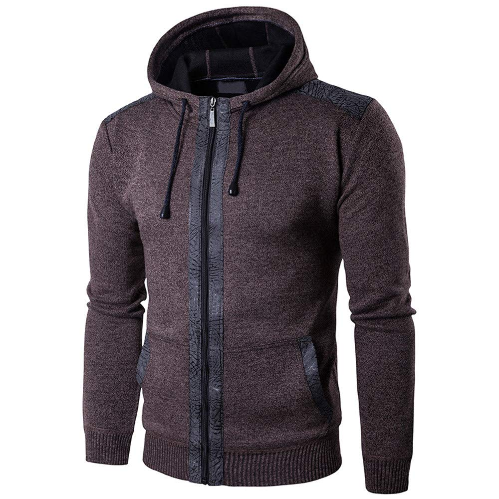 Zip Hoodies for Men, Corriee Mens Autumn Winter Casual Coat Hoodie Fashion Patchwork Long Sleeve Hooded Outwear Tops