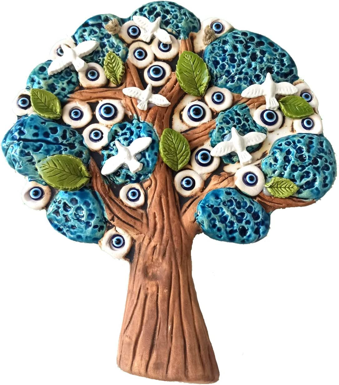 Tree of Life Ceramic Wall Art Decor Sculpture Hanging Wall Decor Rustic Wall Decorations Evil Eye Wall Hanging Ornament Pottery Wall Art Gift for Home Decoration Indoor Outdoor Great Home Gifts