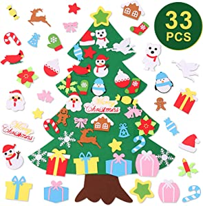 Seniny DIY Felt Christmas Tree Kit Kids Plush Toy 3.2FT with 33pcs Detachable Ornaments Wall Hanging Home Door Decoration Boys & Girls New Year Decor for Toddles