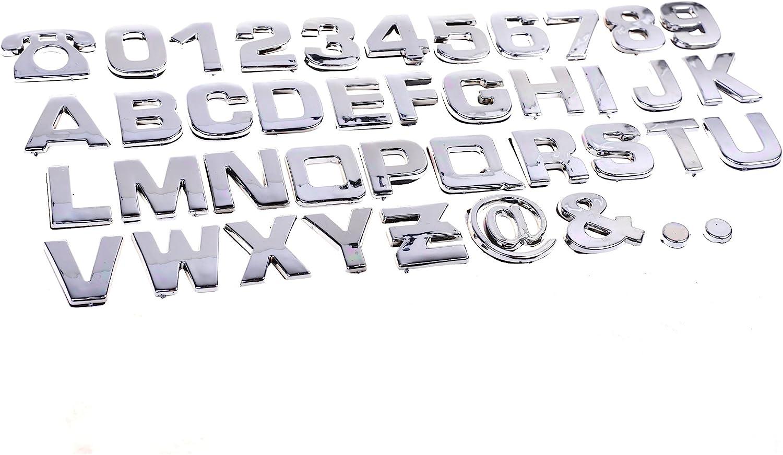 COSMOS 40 Pcs Silver Tone Plastic Car Letters Number Sticker 3D Emblem Trim Badge Decal Sticker