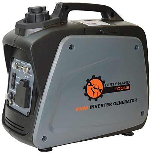 Dirty Hand Tools 104609 800 Watt 5.8 Amp Gas Powered Inverter Generator Portable Power Supply EPA CARB Certified 7 Hour Run Time 1-120V AC Outlet