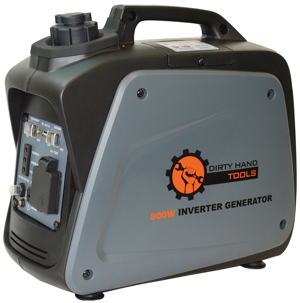 Dirty Hand Tools | 104609 | 800 Watt 5.8 Amp Gas Powered Inverter Generator | Portable Power Supply |