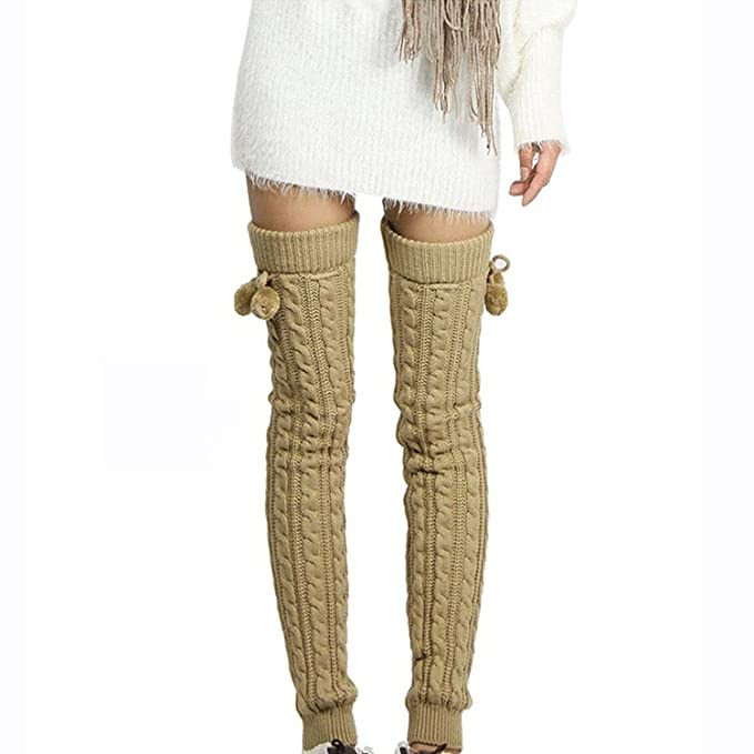 834bbbd10b7b1 1 Pair Women Over Knee Knitted Leg Warmers Footless Boot Stocking Thigh High  Loose wool warm and comfortable Socks With Pom at Amazon Women's Clothing  store ...
