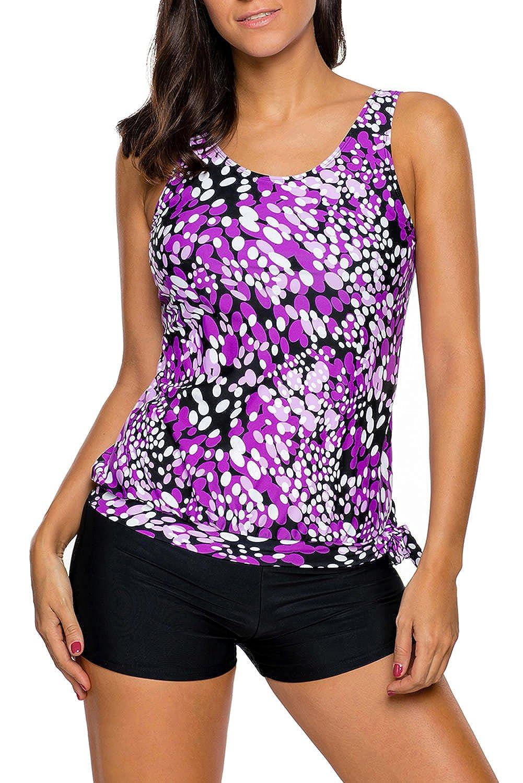 Surfywin Womens Summer Swimsuit dewdrop Print Blouson Tankini Swimsuit