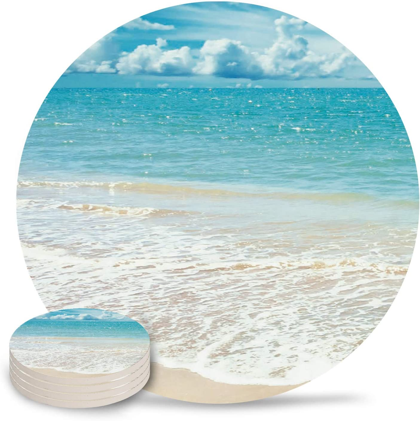 Set of 4 Coasters for Drinks, Absorbing Stone Beach with Vivid Sky Ocean Scenery Ceramic Round Coaster with Cork Base No Holder, for Housewarming Coffee Kitchen Room Bar Decor (4 Inch)
