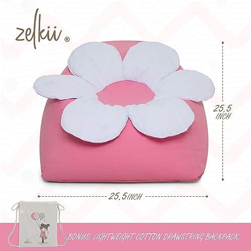 Zelkii Gorgeous Kids Bean Bag Chair Cover Stuffed Animal Storage Bean Bag Soft Cotton Canva