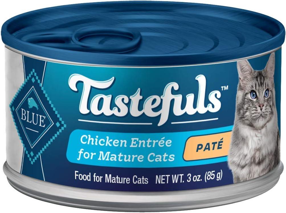Blue Buffalo Tastefuls Natural Mature Pate Wet Cat Food, Chicken Entrée 3-oz cans (Pack of 24)