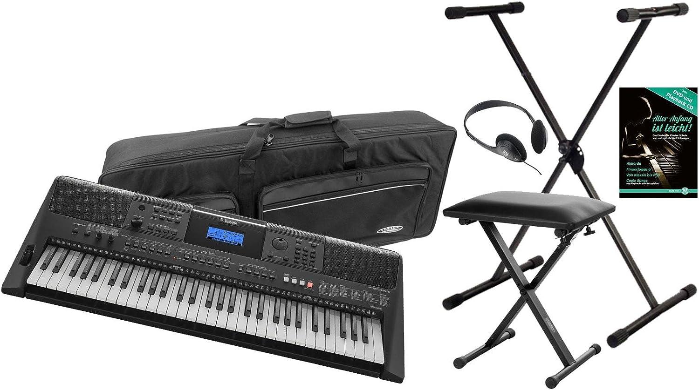 Yamaha PSR e453 Keyboard (758 alta calidad Top de sonidos, 220 de alta calidad Styles, 61 teclas con bisagra dinámica, función de aprendizaje para ...