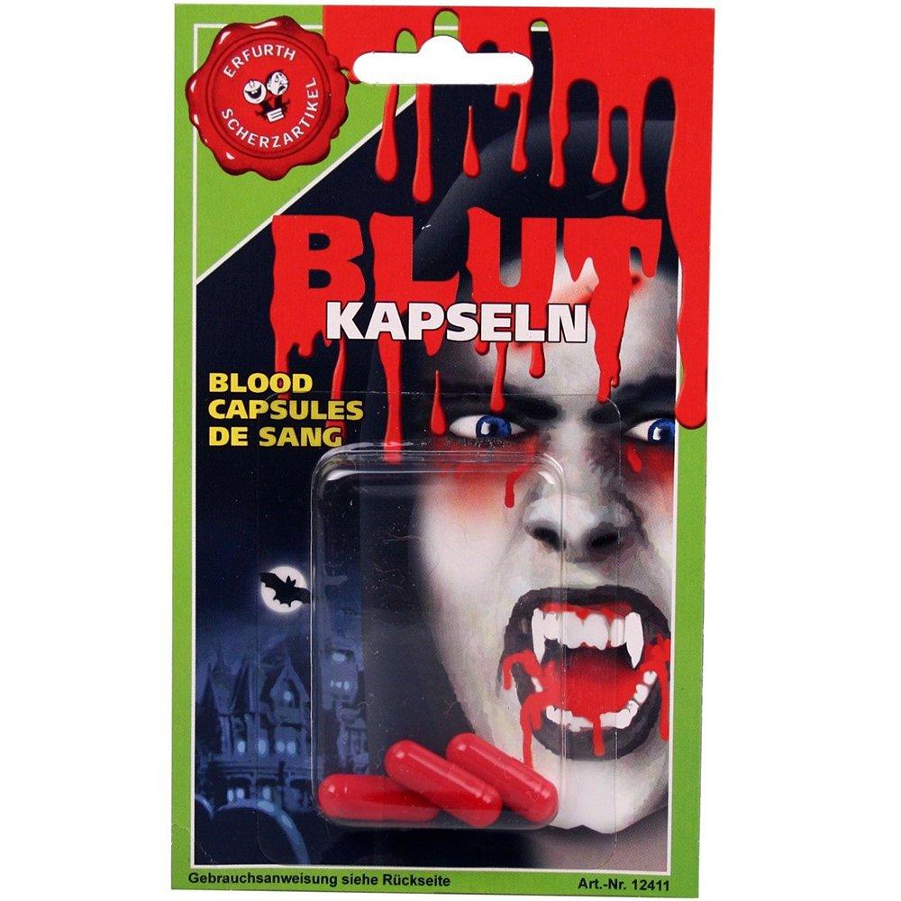 1 Packung mit 3 Blutkapseln Halloween-Zubehör Blut Erfurth 52946