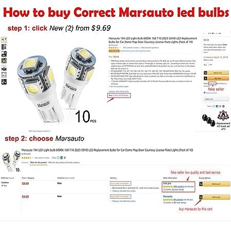 Amazon.com: Marsauto 194 LED Light Bulb 6000K 168 T10 2825 5SMD LED ...