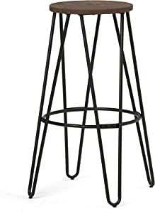 SIMPLIHOME Simeon 30 inch Bar Stool, Cocoa Brown and Black Metal and Elm Wood, Round, Backless, for the Kitchen and Dining Room, Industrial