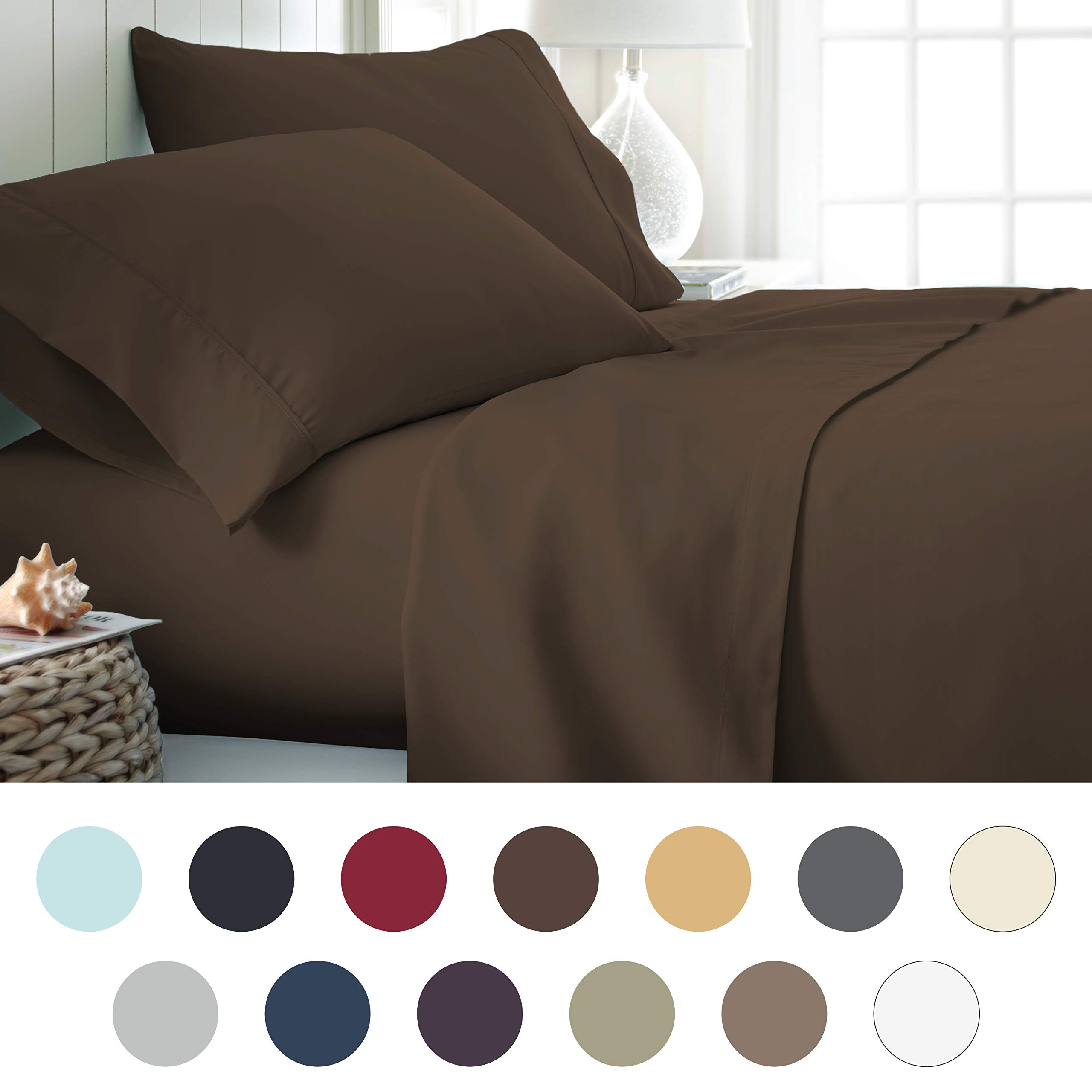 ienjoy Home Hotel Collection Luxury Soft Brushed Bed Sheet Set, Hypoallergenic, Deep Pocket, Queen, Chocolate