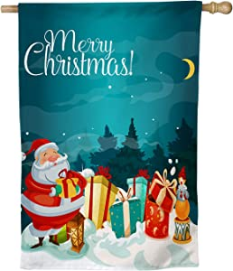 """erolrail Merry Christmas Santa Claus and Gifts - Large Double-Sided Christmas Yard Flag 28"""" x 40"""" Decorative Christmas Flag Gift for Christmas Banners Outdoor Artist Rendered Xmas Flag"""