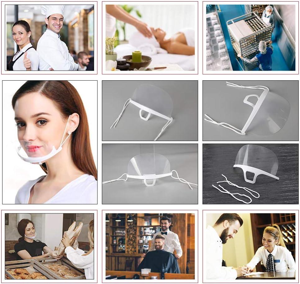 5 Piezas Boca Visera pantalla facial Cubierta de boca transparente protecci/ón facial anti-salpicaduras reutilizable ligera Catering