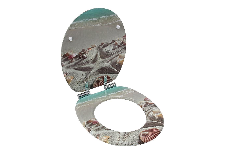 Klobrille Klodeckel Toilettendeckel aus MDF Toilettensitz WC-Sitz mit Absenkautomatik und verzinkten Scharnieren Blatt mit Wassertropfen