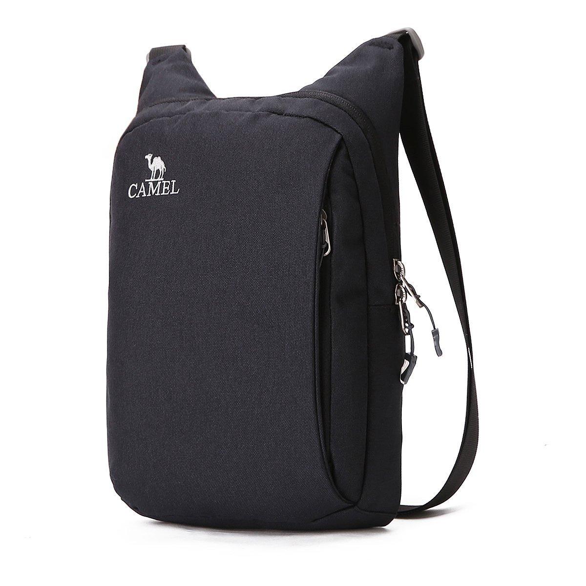 CAMEL CROWN Unisex Anti-Theft Crossbody Bag Lightweight Mens Shoulder Bag Women Outdoor Mini satchel(Black)