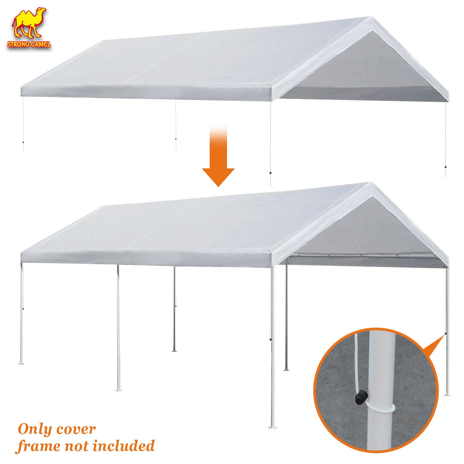 Strong Camel 10'x20' Carport Replacement Canopy Cover for Tent Top Garage Shelter Cover w Ball Bungees (Only cover, Frame is not included)