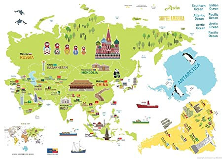 Ambiance world map giant wall sticker for children 120 x 150 cm ambiance world map giant wall sticker for children 120 x 150 cm gumiabroncs Gallery