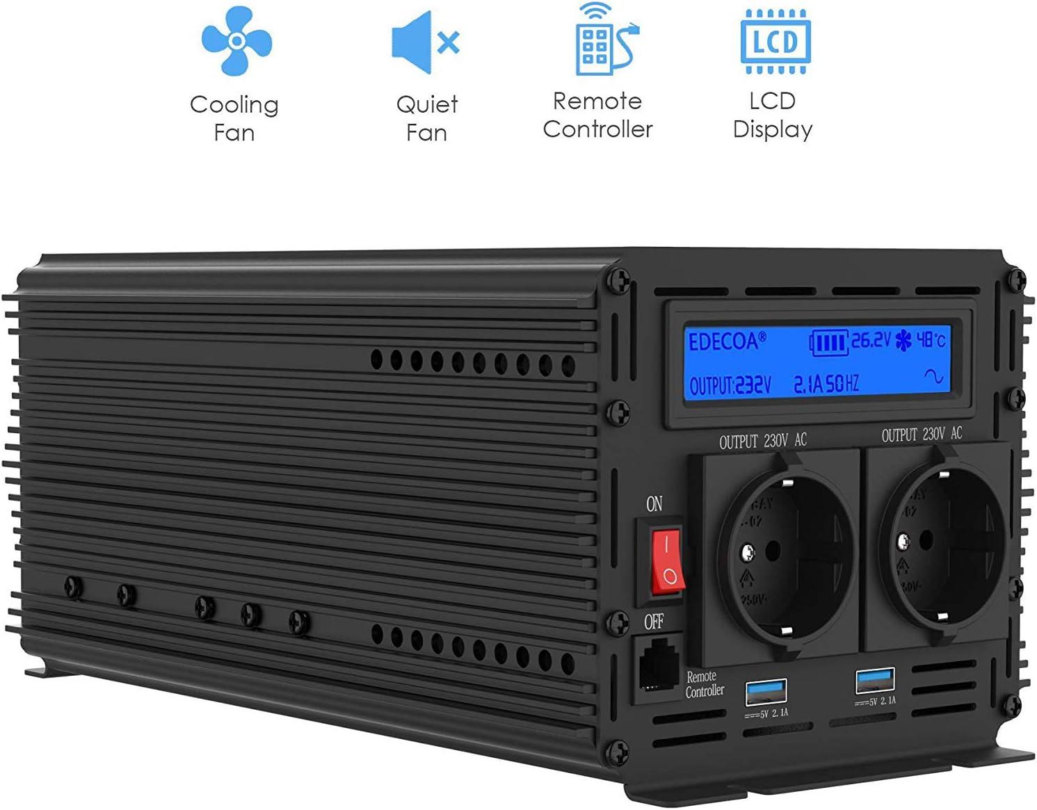 EDECOA Inversor 24v 220v Onda Pura 1500w con Mando a Distancia 2X USB y Pantalla LCD Convertidor 24v 220v Transformador de 1500w Pico momentaneo 3000w
