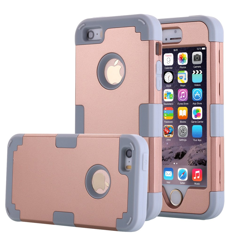 iPhone SE Case, Pandawell? Hybrid Heavy Duty Shockproof Full-Body Protective Case with Dual Layer [Hard PC+ Soft Silicone] Impact Protection for Apple iPhone SE / iPhone 5 SE - Rose Gold/Grey