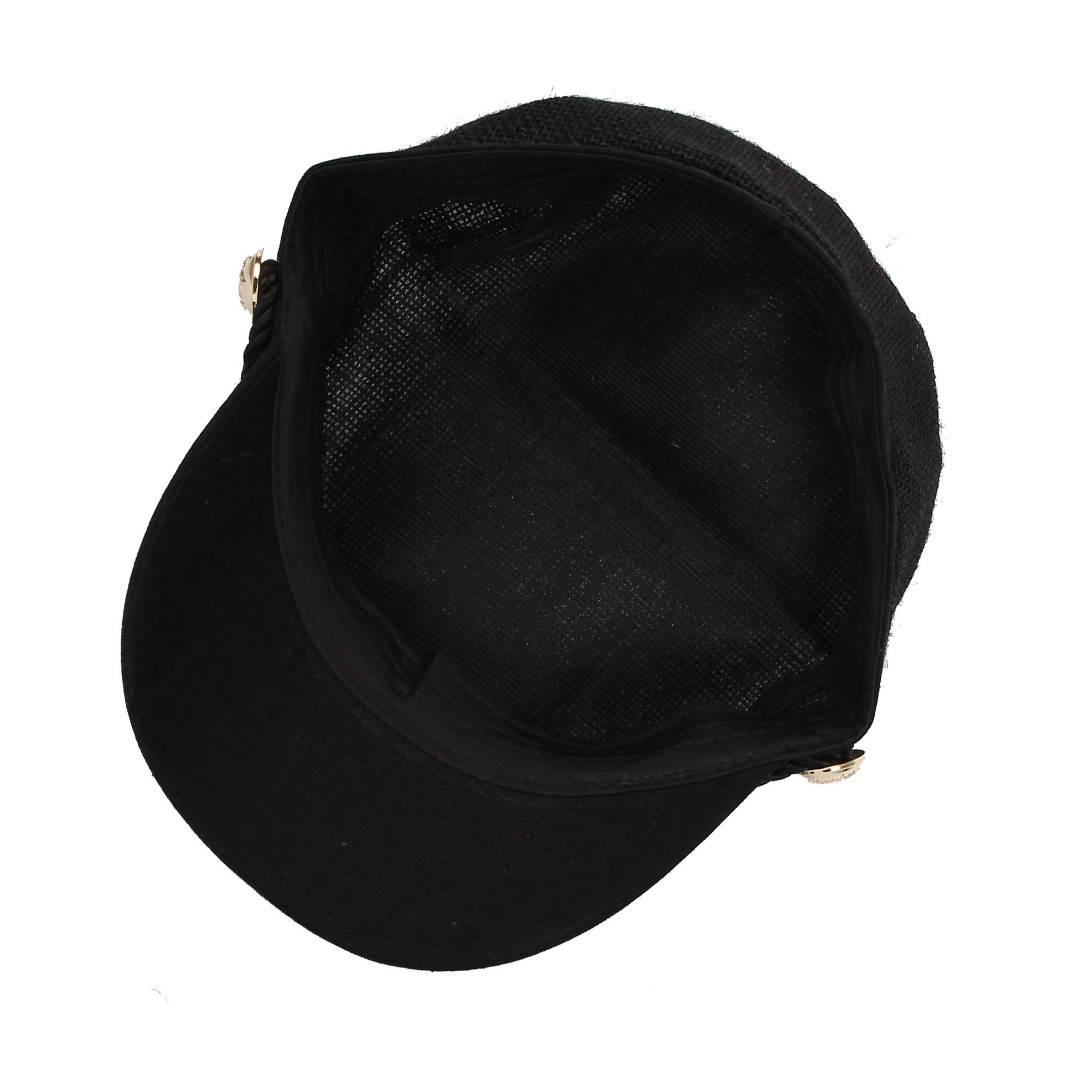 WITHMOONS Women Linen Newsboy Cap Mesh Breathable Summer Hat MUG1164 (Black) by WITHMOONS (Image #6)