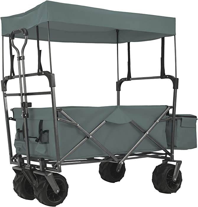 EXTEC Folding Stroller Wagon Collapsible with Canopy Outdoor Sport Baby Trolley Garden Utility Shopping Travel Beach Wagon/Cart - Easy Setup NO Tool Needed (Grey)