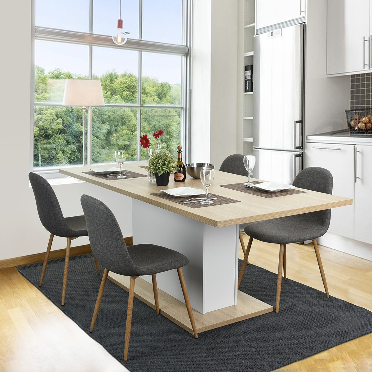 Homycasa Dining Chair Set Of 4 Style Fabric Stable Chairs With Metal Legs Kitchen Room GREY Amazonca Home