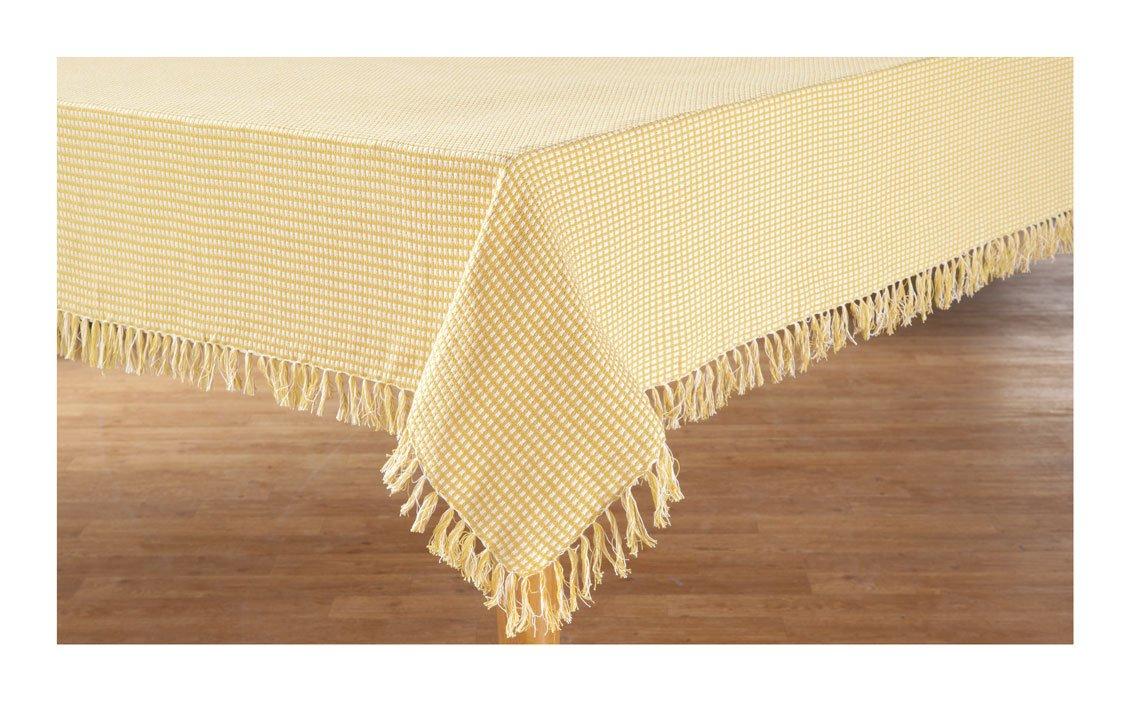 Cobra Trading Homespun Check 100/% Cotton Woven Fringed Tablecloth Gold 52 x 70