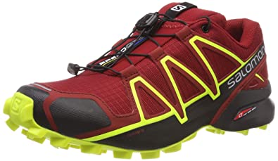 977874fc8930 Salomon Men s Speedcross 4 Trail Shoes Red Dahlia Black Safety Yellow 8