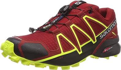 Salomon Men's Speedcross 4 Trail Shoes Red Dahlia/Black/Safety Yellow 8