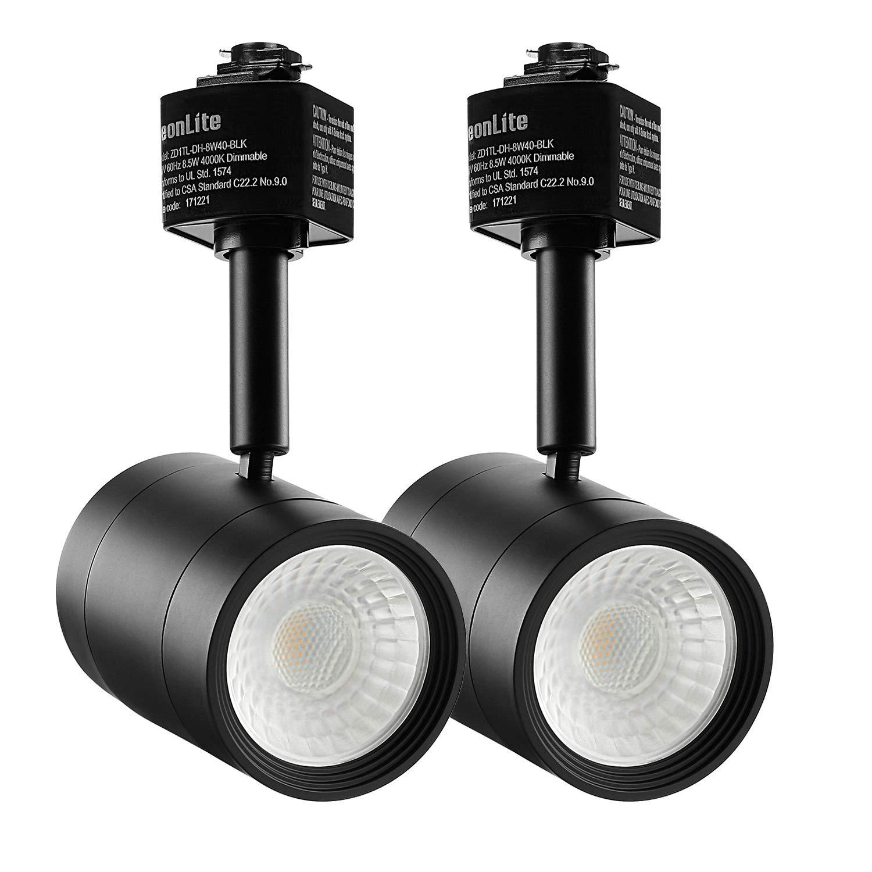 LEONLITE 2-Pack 8.5W (50W Eqv.) Integrated CRI90+ LED Black Track Light Head, Dimmable 38° Spotlight Track Light, 500lm Energy Star & ETL Listed, for Wall Art Exhibition Lighting, 2700K Soft White