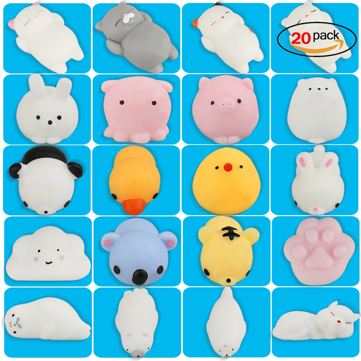 YaphteS Kawaii Cute Squishy Squeeze Toy Mini Squishies Slow Rising Animals Hand Toys Soft for Adults, Kids, Girls, Boys, Men and Women Relief Stress Balls