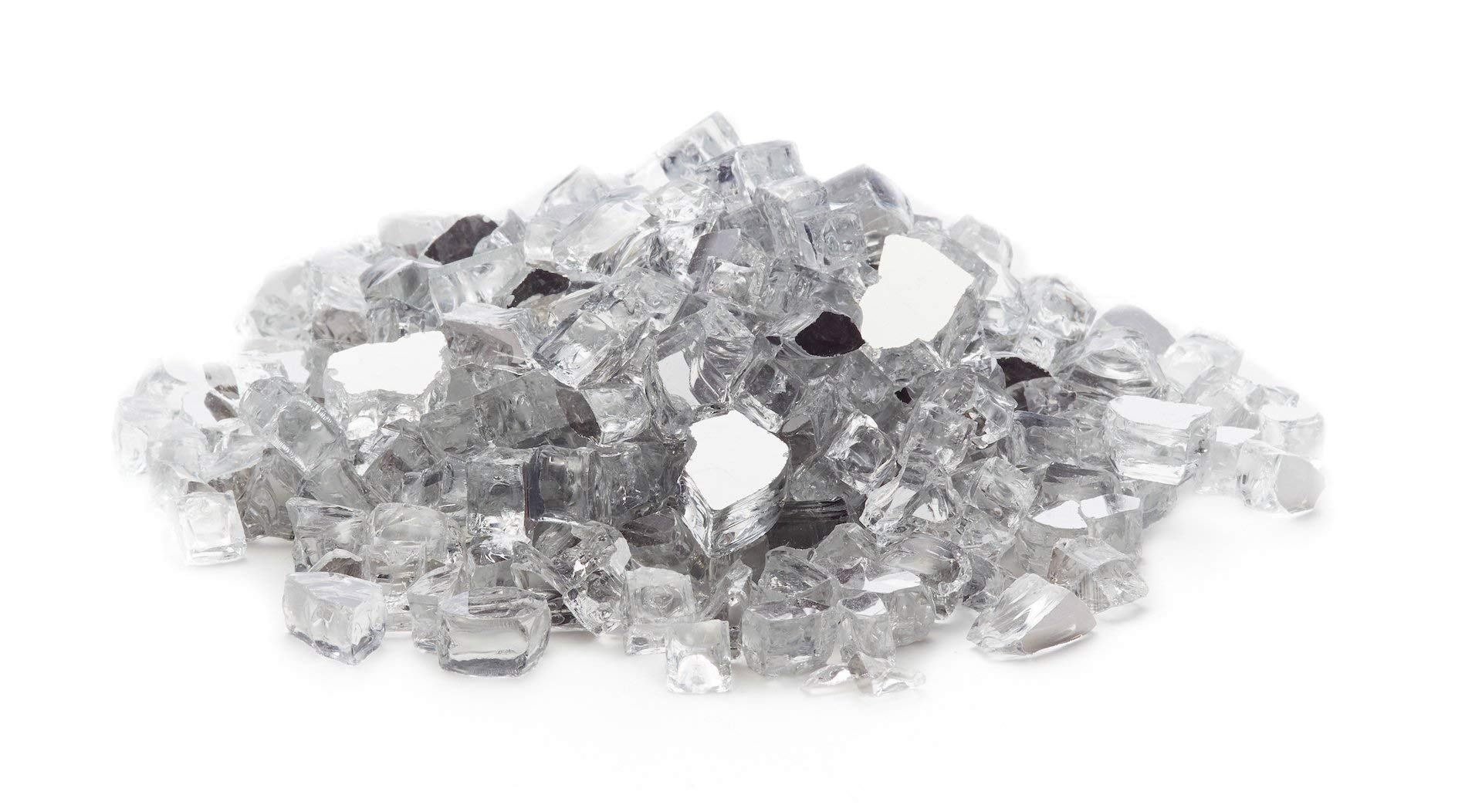 Exotic Fire Glass - Silver Reflective Fire Glass 1/2 Inch - 25lb. Bag (Renewed) by Exotic Fire Glass