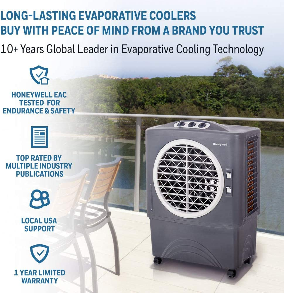 Honeywell Powerful Outdoor Portable Fan Gray Long-Lasting Honeycomb Pads on 3 Sides /& Copper Continuous Water Supply Connection Evaporative Cooler 1647 CFM