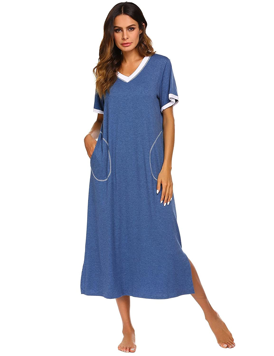 43301dc891 Comfy short-sleeved full-length sleep dress featuring curved hem with  v-neckline and pockets