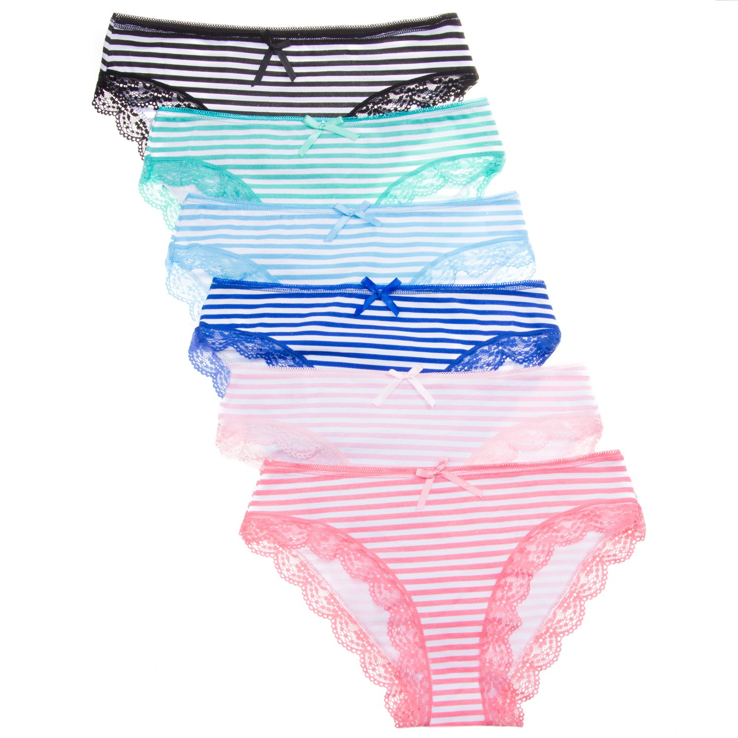 Anzermix Women's Stripe Cotton Comfortable Panties Pack of 6