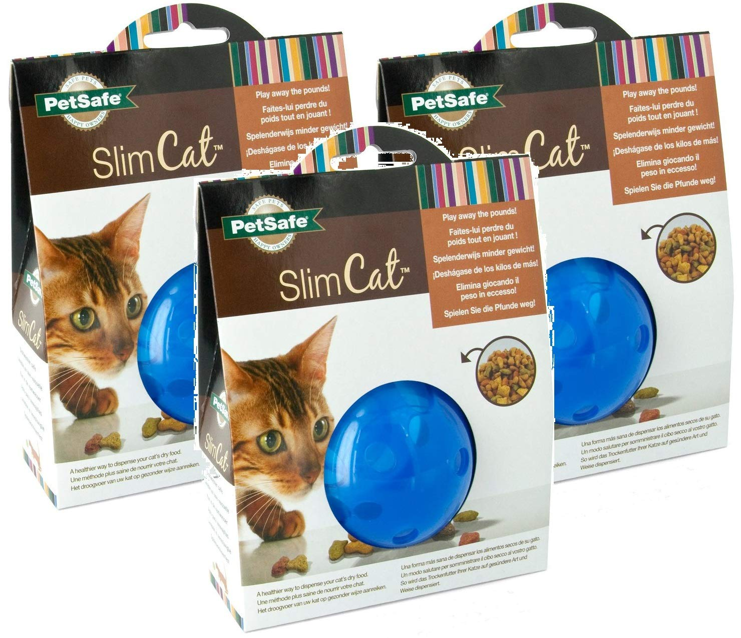 Petsafe SlimCat Meal Dispensing Cat Toy, Blue (3 Pack) by PetSafe