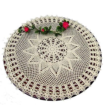 Laivigo New Handmade Crochet Lace Round Table Cloth Doilies Doily 24 Inch Beige