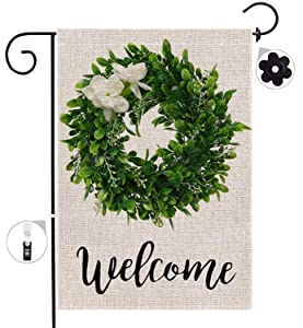 Garden Flag, Boxwood Wreath Welcome Home Yard Flag with Rubber Stopper Double Sided Burlap Fall Outdoor Seasonal Decoration Weather Resistant Flag Patio Lawn Garden Outdoor Home Décor 12.5 X 18 inch