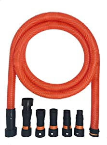 VPC Dust Collection Hose for Home and Shop Vacuums with Expanded Multi-Brand Power Tool Adapter Set Fittings | Orange (16 FEET)