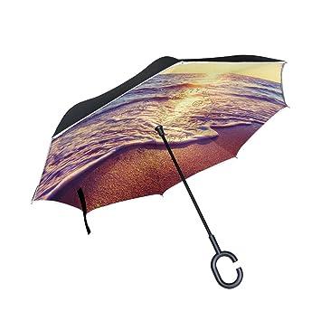 BENNIGIRY Paraguas Reversible Plegable de Doble Capa para Playa y Océano, Protección UV Resistente al