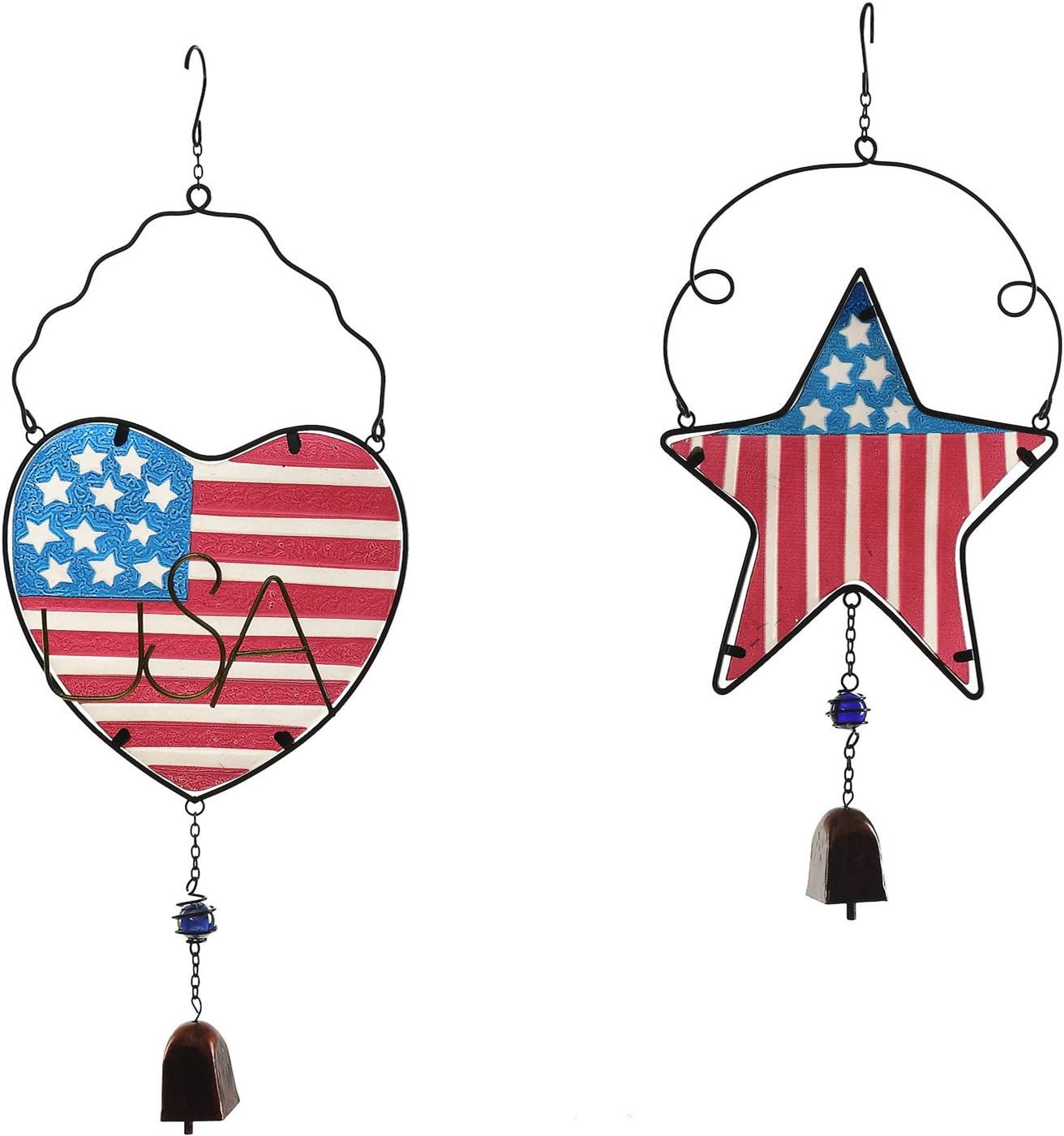CEDAR HOME Wind Chime Unique Outdoor Indoor Hanging Mobile Bell Windchime for Garden Lawn Yard Patio Waterproof Metal Glass Patriotic American Flag Home Decor, 9.5