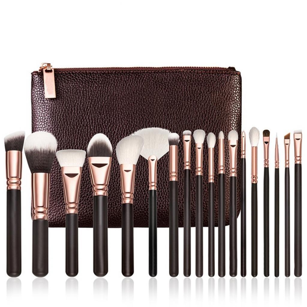 Fheaven 18 pcs Rose Gold Makeup Brush Complete Eye Set Tools Powder Blending Brush