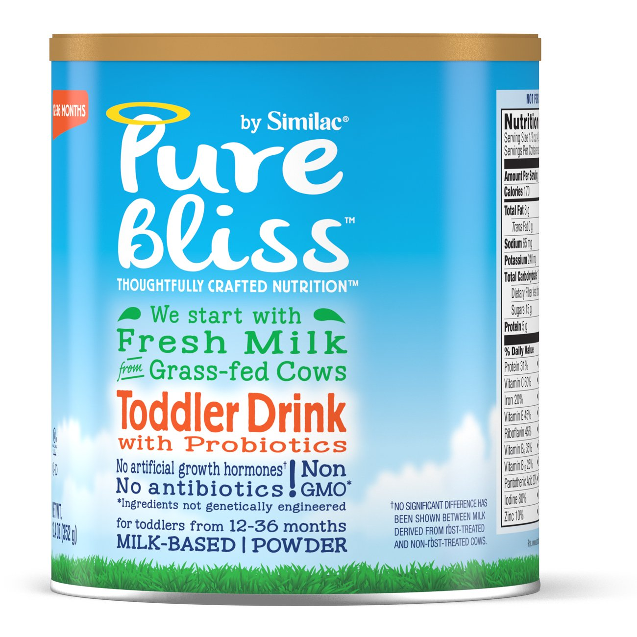 Pure Bliss by Similac Toddler Drink with Probiotics, Starts with Fresh Milk from Grass-Fed Cows, 12.4 ounces (Pack of 4) by Similac (Image #6)