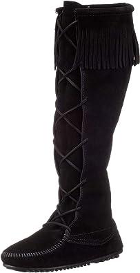 Black tall mocassins