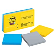 Post-it Super Sticky Pop-up Notes, 2x Sticking Power, Colors of the World Collection, 3 in x 3 in, New York (R330-6SSNY)