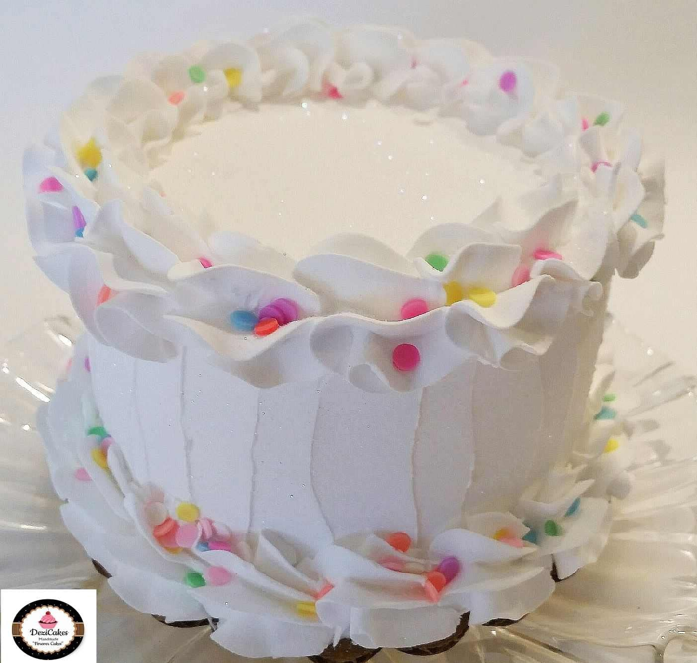 Pleasing Amazon Com Dezicakes Birthday Cake 6 White W Confetti Faux Cake Personalised Birthday Cards Fashionlily Jamesorg
