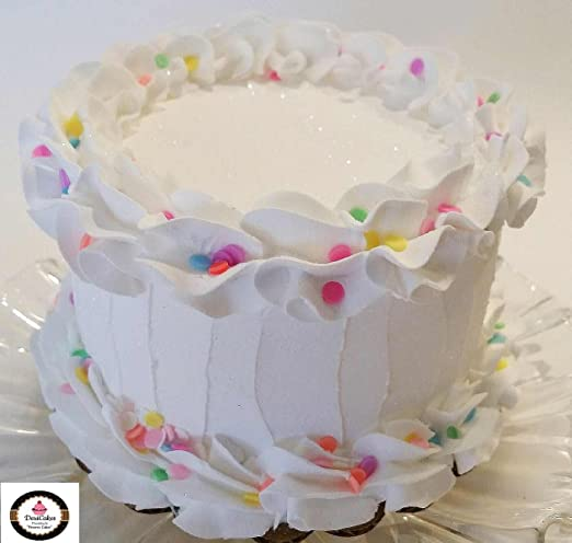 Excellent Amazon Com Dezicakes Birthday Cake 6 White W Confetti Faux Cake Funny Birthday Cards Online Aeocydamsfinfo