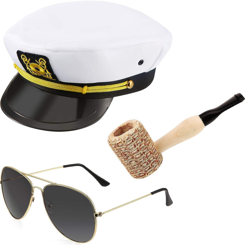 Yacht Sailor Set Captain Hat Mini Corn Cob Pipe Sunglasses for Teens Adults Costume Accessories