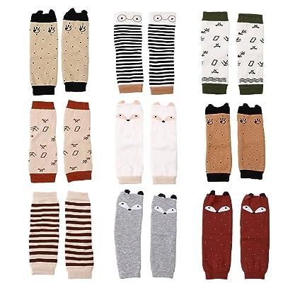 9 Pack Baby Thick Cotton Animal Theme Leg Warmers Non-slip Crawling Sleeve Leggings